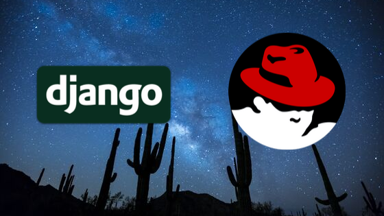 Image of desert sky with Django and Red Hat logos in foreground
