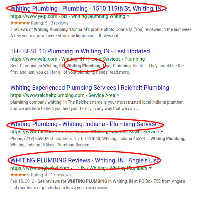 SERP for Whiting Plumbing search query