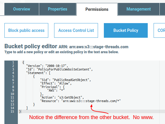 Create S3 bucket for website redirect, bucket policy