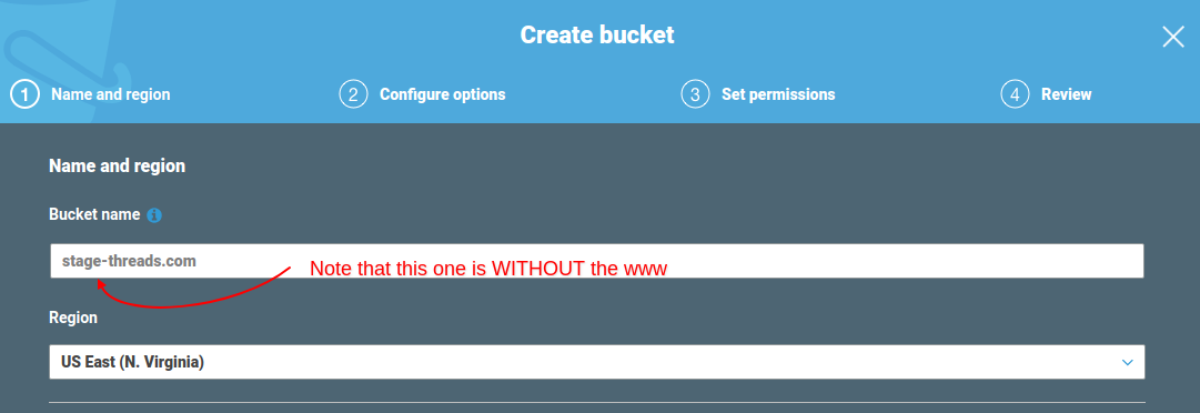 Create S3 bucket for website redirect, step 1