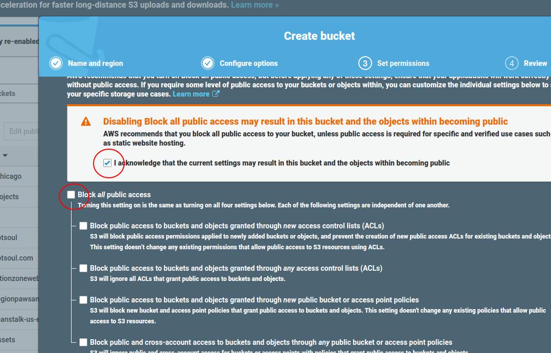 Create S3 bucket, step 3