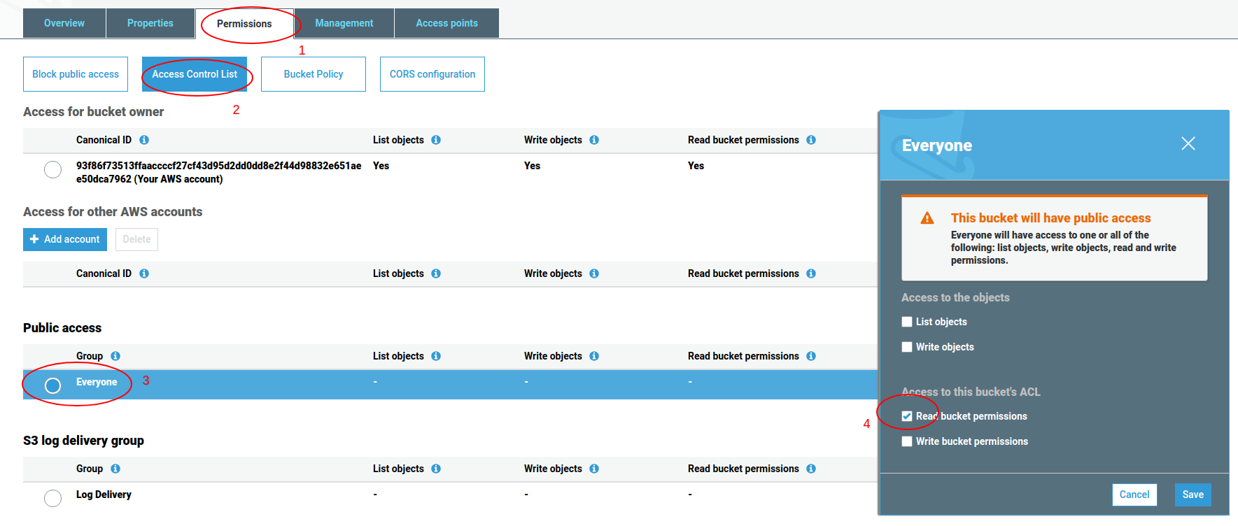 Set S3 bucket access permissions for website hosting