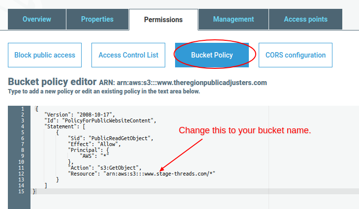 Set S3 bucket policy for website hosting