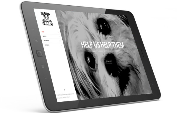 The Region Paws & Claws home page displayed on iPad