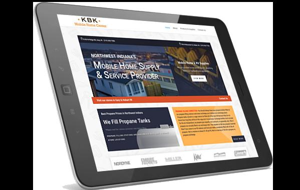 KBK Moile Home Center website on iPad