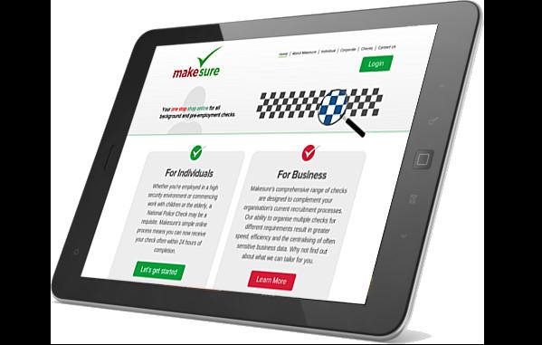 MakeSure website on iPad