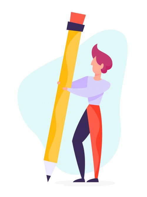 Copywriter concept. Idea of writing texts, creativity and promotion. Making valuable content and working as freelancer. Man author with a pencil. Vector illustration in cartoon style