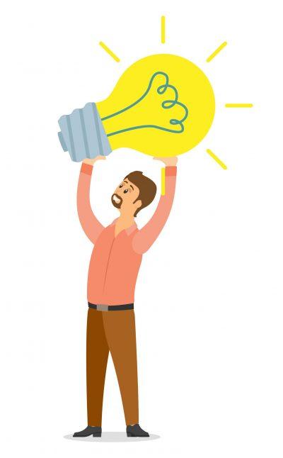 Businessman holding lightbulb balloon concept of get idea. Business creative intention flat vector