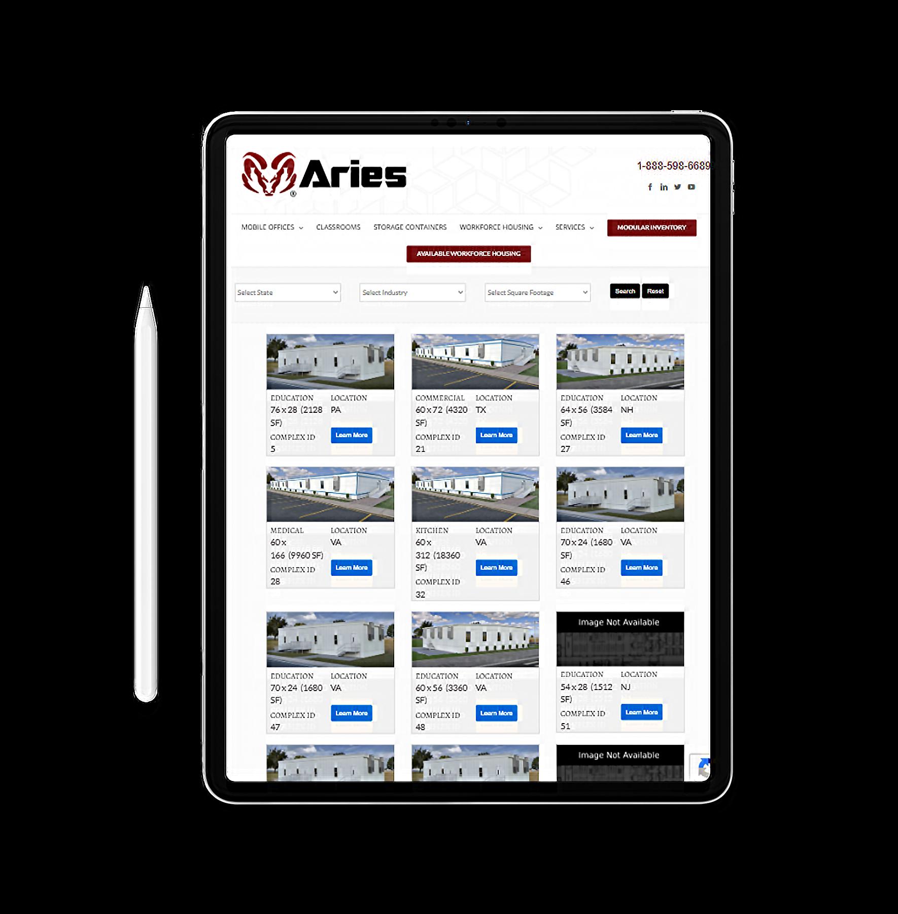 Aries Buildings website on tablet