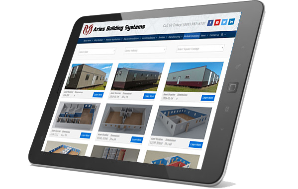 Aries Buildings WordPress plugin on iPad
