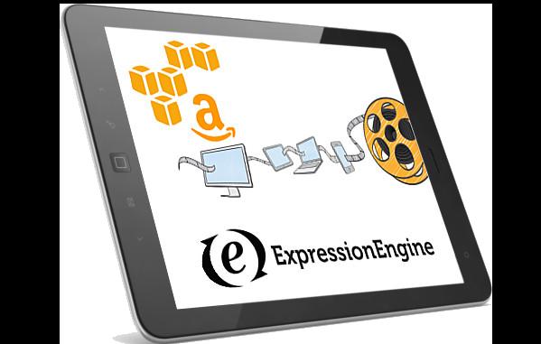 Amazon & Expression Engine logos on iPad