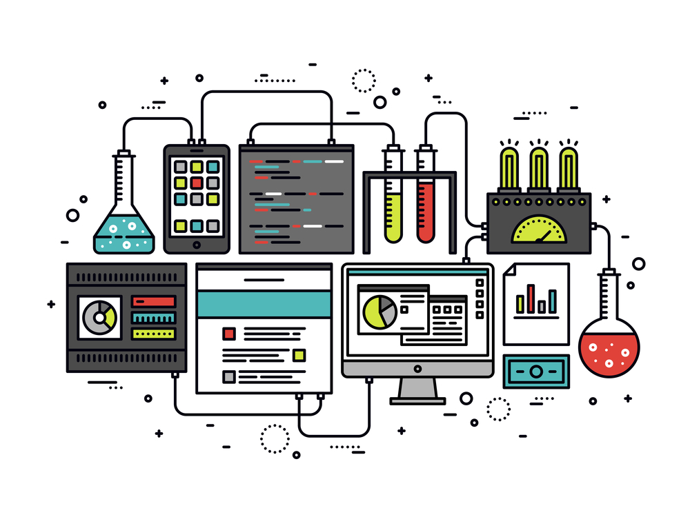 Content research line style illustration