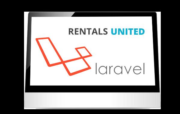 Rentals United & Laravel logos on iPad