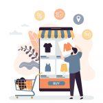 E-commerce web development illustration